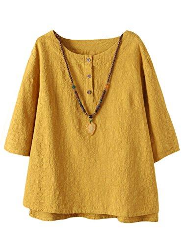 Vogstyle Damen Baumwoll Leinen Tunika T-Shirt Jacquard Oberseiten, Gelb, M