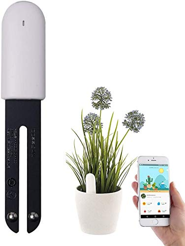 Wanfei Plant Monitor, VegTrug Flower Care - Intelligent Soil Test Bluetooth 4 in 1 Soil Tester Automatically Monitors Moisture/Light/Fertility/Temperature Levels - for iOS and Android