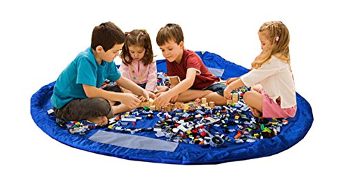 Bolsa de almacenamiento de juguetes para Lego, Bolsas de organizador, Alfombra de juego para niños - Organizador portátil de juguetes para niños (blue)