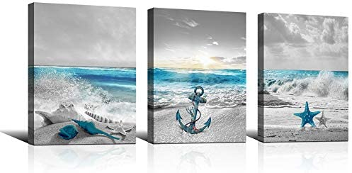 KuyiArt Seascape Canvas Prints Wall Art Painting Anchor Starfish Shell on Seaside Artwork Pictures product image