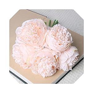 Silk Flower Arrangements Blue-shore Baby Breath Flowers Artificial  Artificial Silk Pink Peony Flowers Bridal Bouquet Yelllow Fake Flower Arrangments Wedding Home Decor Big 5 Heads-G07-2