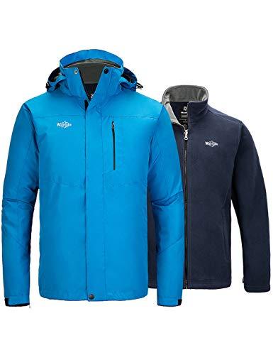 Wantdo Men's Winter Ski Jacket Warm Waterproof Snow Coat Sky Blue X-Large
