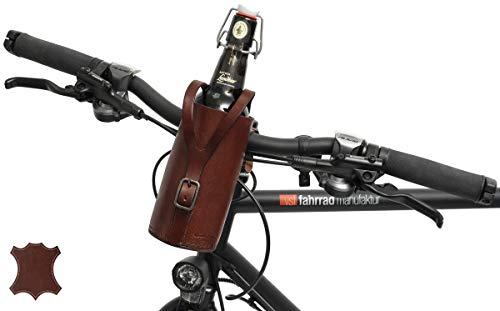 Gusti Flaschenhalter Leder - Connie für Fahrradlenker Getränkehalter Vintage Braun Leder