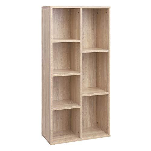 VASAGLE Librería con 7 Compartimentos, Estantería de 7 Cubos Abiertos, para Salón, Estudio, Oficina, 50 × 24 × 106 cm (Largo x Ancho x Alto), Color del Roble LBC27NL