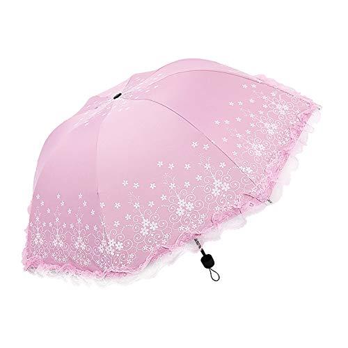 Demarkt Paraguas Floral Sombrilla con Protección UV Compacto Plegable Viaje Bolsa Sombrilla,...