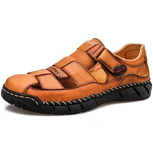 FTFDTMY Sandalias para hombre al aire libre cerradas dedo del pie sandalias de cuero de verano casual pescador sandalias, marrón, 43