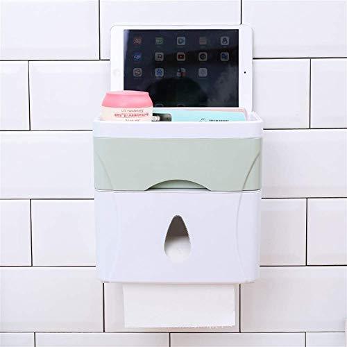 JSMY Tubo de Papel en Rollo sin Perforaciones Soporte de Papel higiénico de baño multifunción Lugar Teléfono móvil Dispensador de Papel higiénico Caja de pañuelos(Color:Verde)
