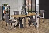 Luena - Mesa de comedor rectangular en chapa de madera natural (extensible), roble natural 160 (220) x 90 x 75 cm, patas de acero lacado epoxi negro