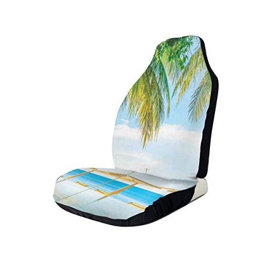 GUUi Seat Covers Vehicle Protector Car Mat, Exotic Beach with The Pool Nature with Soft Light Sun Rays Fantastic Holiday Theme,Fit Most Cars, Sedan, Truck, SUV,2pcs