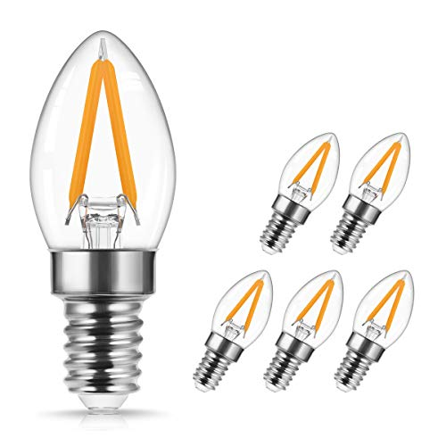 2W LED Bulb C7 E14, DORESshop Vintage Light Bulb, Filament Candle Lights, Replaces 20W, 2700K Warm White, 200 Lumens Retro Mini Bulbs for Salt Lamp, Decorative Lamps, Sewing Machine, 5-Pack
