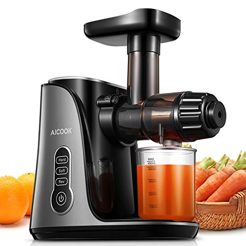 Juicer Machines, Aicook 2020 Newest Slow Masticating Juicer, Easy to Clean & High Juice Yield, 2-Speed Mode Cold Press Slow Juicer, Juice Recipes for Vegetables and Fruits, Quiet Motor BPA Free