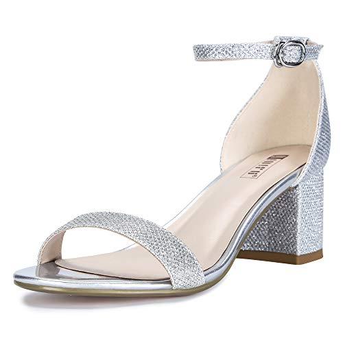 IDIFU Women's Cookie-LO Low Block Heels Chunky Sandals Ankle Strap Wedding Dress Pump Shoes(Silver Glitter, 5)