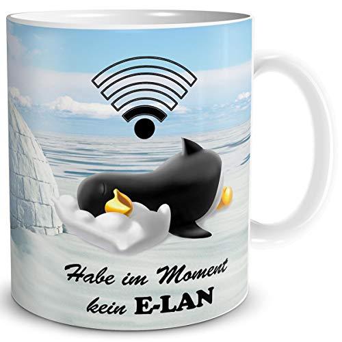 TRIOSK Pinguin Tasse Kein Elan mit Spruch lustig Geschenk für Arbeit Büro Frauen Freundin Kollegin Pinguinliebhaber