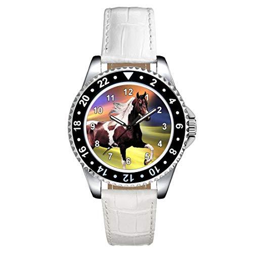 Timest - Caballo Paint Horse - Reloj para Mujer con Correa de Cuero Blanco Analógico Cuarzo SE1244LW