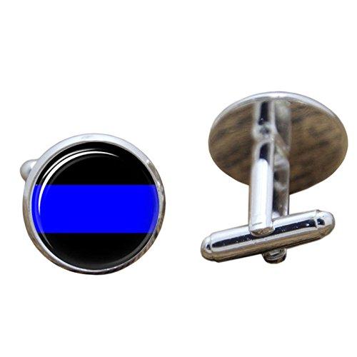 Thin Blue Line Police Glass Cosplay Manschettenknöpfe