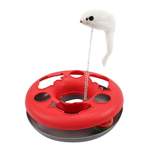 LOSVIP Pet interaktives Spielzeug 2019,Farblich passendes rundes Katzenspielbrett - Spring Mouse Cat Interactive Toy Turntable(Rot,26x23x23cm)