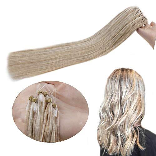 Hetto Extensions Echthaar mit Micro Ringe Unsichtbar Microrings Human Hair 18 Zoll Piano Farbe Dunkel Aschblond Mix Blond bleichen 50G