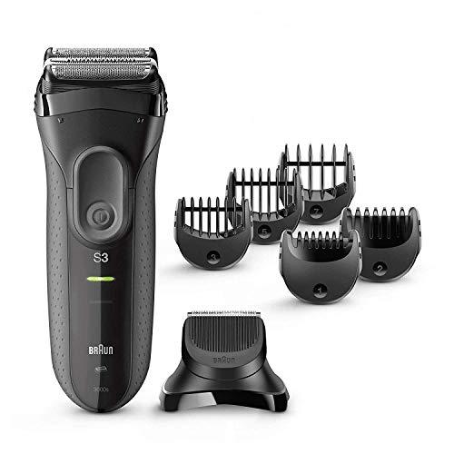 Braun Series 3 Proskin Shave&Style 3000BT, Afeitadora Eléctrica 3 en 1, para Hombre, con Recortadora de Precisión para Barba, con 5 Peines, Negro/Gris