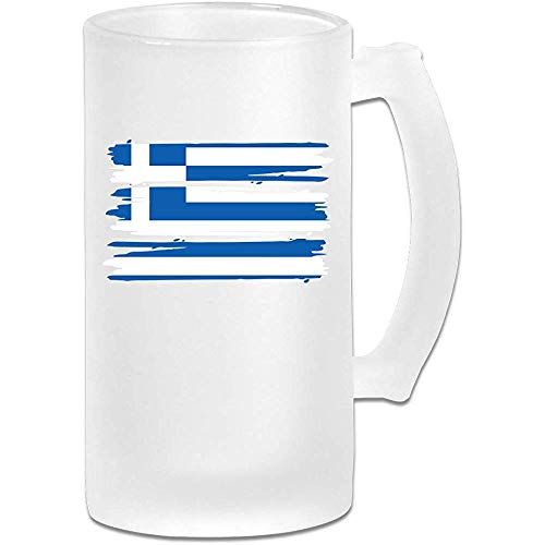 Frosted Bier Glas, Griekenland Griekse Vlag Gepersonaliseerde Stein, Gift voor Bierliefhebbers, 500Ml (16.9Oz)