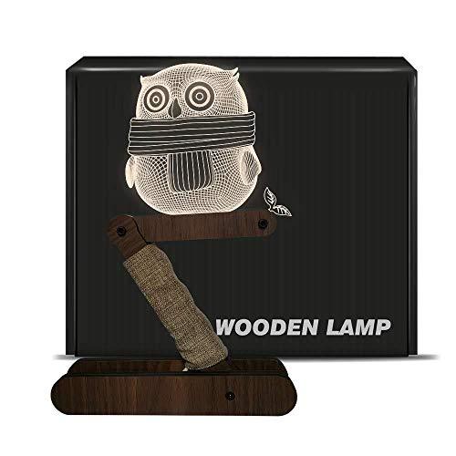 Lampada da tavolo a LED dimmerabile CITTATREND – 3D in acrilico visivo gufo Deco legno lampada da comodino – luce bianca calda notturna – regalo per la camera da letto dei bambini gufo