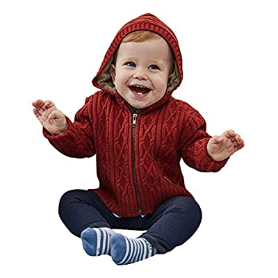 PETIT CLAN Baby Boy Hooded Cardigan Jacket Two Colors Cool Design for Baby Boy Purplish Red