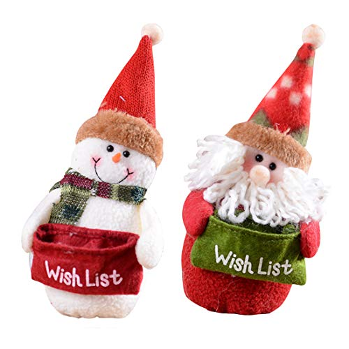 FASHIONMIA 2 Set Christmas Plush Ornaments Home décor Table Ornaments Standing Hanging Decoration Santa Clause Snowman Dolls Toy Figures Stuffed with Wish List Pocket 7.9''