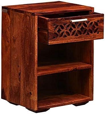 Craftatoz Sheesham Wood Bedside End Table for Bedroom in Honey Finish