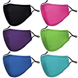 Reusable Face Masks Adult Washable Adjustable Breathable Cotton Cloth Face Mask for Women Mens/6PC