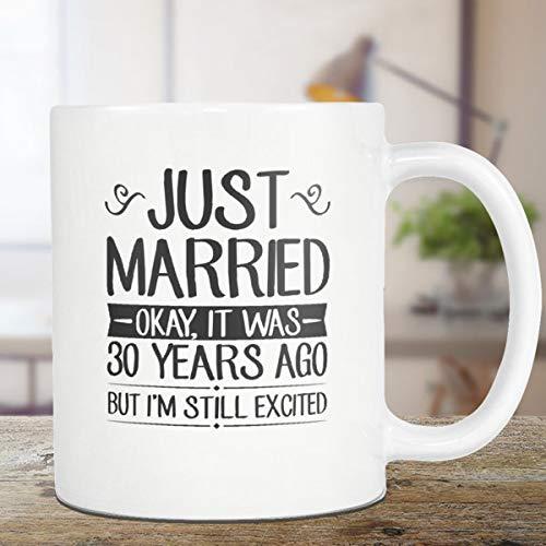 DKISEE 30th Wedding Anniversary Mug 30th Husband Wife Gift for Her, Gift for Him Gift 15 Ounce Coffee Mug Tea Cup