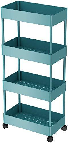 Arkmiido Küchenwagen,Storage Trolley Cart,4 Ebenen rollwagen für Küche, Schlafzimmer,Wohnzimmer,Bad, Büro USW (Blau)