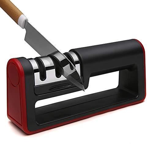 Messerschaerfer mit Messerschärfer Profi-Küchenmesserschärfer 3-in-1 Manuelles System für scharfe Messer in Küche, Haushalt Messerschleifer