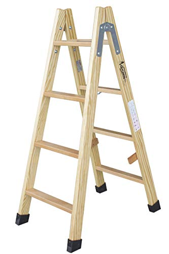Escalera de tijera de madera con peldaño de haya de 54 mm. Fabricada según UNE-EN 131. (4 peldaños)