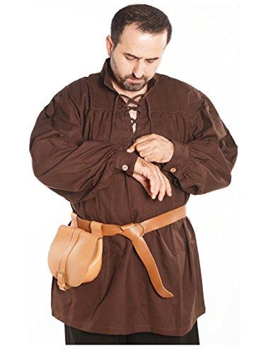 Hermes Medieval Viking LARP Pirate Cotton Man Shirt - Made in Turkey-Brw-3XL Brown