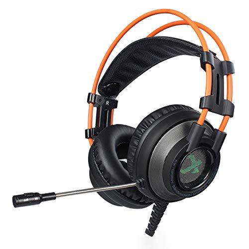 Casque de jeu XHN pour PS4, Xbox One, PC, commutateur Nintendo, téléphone portable portable - Casques stéréo pour casque Surround, sur-oreille, isolant du bruit, lumière DEL respirante pour les j