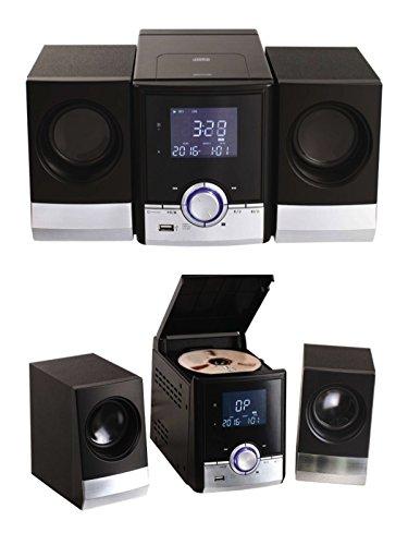 Bluetooth stereo-installatie met cd-speler, radio, wekker, stereoradio, AUX-in muziekinstallatie, afstandsbediening (USB, 2 luidsprekers, LCD-display, achtergrondverlichting)
