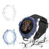 QULLOO Funda para Suunto 7,[2 Pack] Flexible TPU Anti-caída Silicona Carcasas Funda Protector Proteger Reloj Cubierta (Clair + Blue