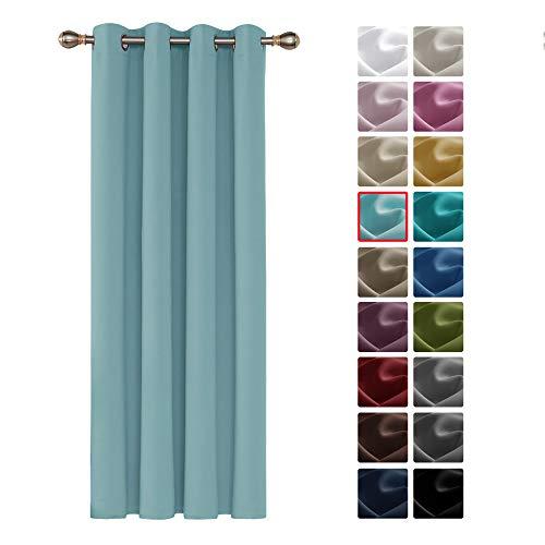 Deconovo Cortinas Opacas Telas Termicas Aislantes Frio Calor Ruido Luz Rayos UV para Salon Dormitorio 1 Pieza 140 x 260 cm Azul Cielo