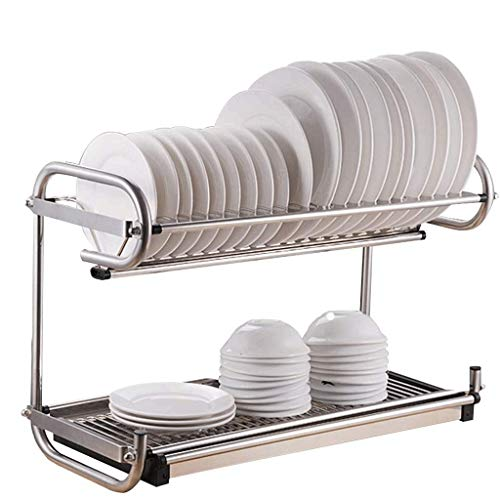 DDEHS Kitchen shelf- Dish Drying Rack, 2 Tier Dish Rack Cup Holder and Dish Drainer for Kitchen Counter Top