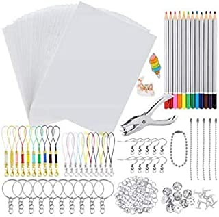 Tokenhigh 188 Pieces Heat Shrink Plastic Sheet Kit, 20 Blank Shrinky Paper, 12 Colored Pencils, Hole Punch, 20 Brooches, 5...