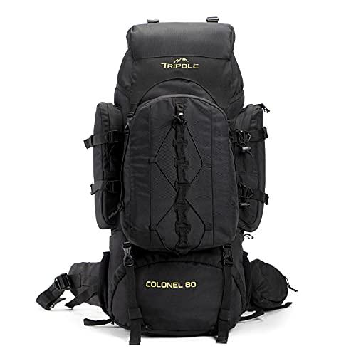 Tripole Colonel 80 Litres Rucksack + Detachable Day Pack, Black