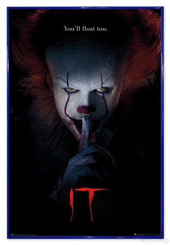 Close Up Stephen Kings Es Poster Pennywise Hush (94x63,5 cm) gerahmt in: Rahmen blau