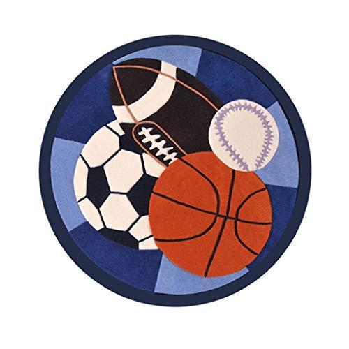 XYL Teppich Wollteppiche Runde Teppiche Kinder Schlafzimmer Teppich Cartoon Fußball Basketball...