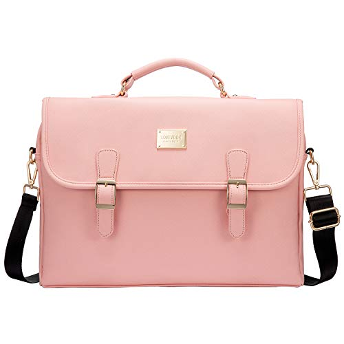 Laptop Bag Women's School 15.6 Inch Shoulder Bag Messenger Lightweight Laptop Bag Briefcase for School University Work Ultra Thin Laptop Bag 15.6 Inch with RFID Protection Anti Theft Pink
