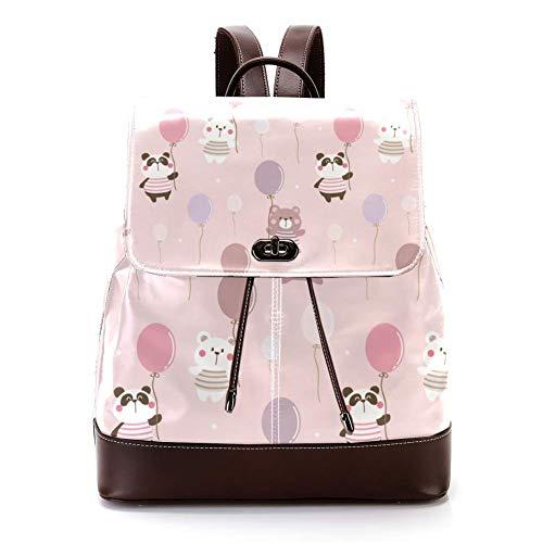 Lässiger PU-Leder-Rucksack für Herren, Damen, Schultertasche, Studenten, Tagesrucksack für Reisen, Business, Uni, Pandas und Luftballons