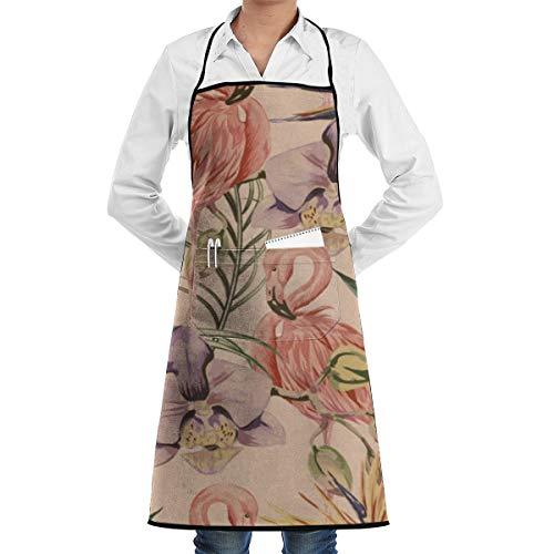 Exotische Botanische Behang Vintage Boho Stijl Keuken Bib Schort Aprons Waterdrop Resistant Koken Bakken Crafting BBQ Voor Vrouwen Mannen Met Zakken Aangepast