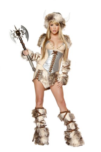 J. Valentine Women's Viking Costume Hat with Horns Tie-Back Top Lace-Up Waist-Cincher Lace-Up Skirt Tie-Up Legwarmers and Fingerless Gloves, Tan/Brown, Small