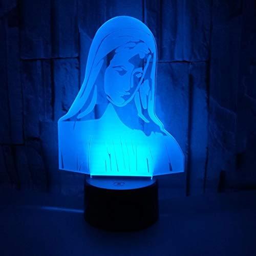 3D Ilusión óptica Lámpara LED Luz Virgen maria de noche Deco LED Lámpara 7 colores de control remoto con Acrílico Plano & ABS Base & Cargador usb