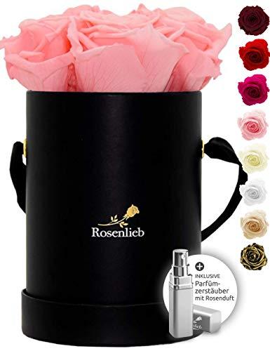 Rosenlieb Rosenbox mit 4 Infinity Rosen (3 Jahre haltbar)   Echte konservierte Rosen   Handgefertigtes Unikat aus Deutschland inkl. Grußkarte   Flowerbox (Pico Bellissima Schwarz, Rosa)
