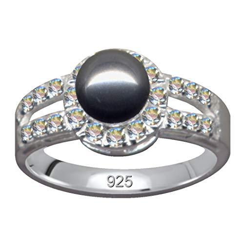 Anillo de plata de ley 925 con perla gris y circonitas, brillantes blancos, tamaño 55, tamaño 17,5 mm, plata de ley 925, símbolo de amor, emoción, diseño, perla, extravagante, transparente