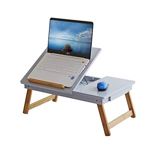 Diaod De Madera Maciza de Escritorio de la computadora, Estudiante compartida del Ordenador portátil Escritorio Cama Plegable Lazy Soporte de Lectura (Color : Blue)